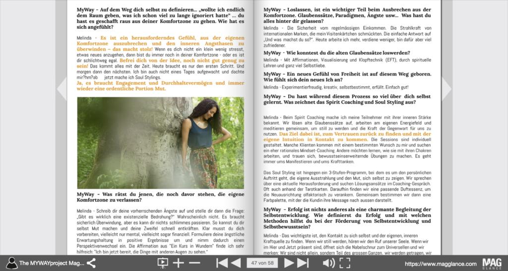Presse, Melinda Cange in der Presse, Newsfeed, Melinda Magazin, Titelblatt, Myway projet, Spiritual Influencer, spirituelle selbständigkeit